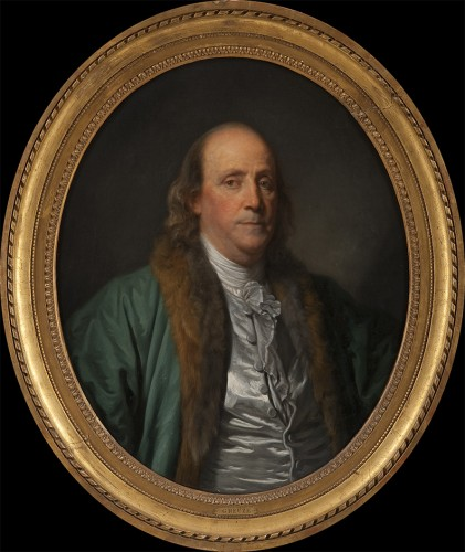 portrait of a man (Benjamin Franklin) wearing a teal coat with a reddish brown fur collar in a gilded, carved frame