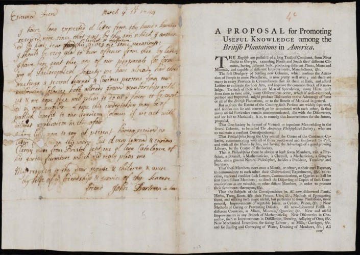 printed document with signs of age and manuscript letter on left hand folio