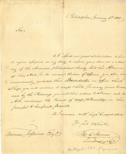 manuscript letter informing Thomas Jefferson of his reelection as APS President