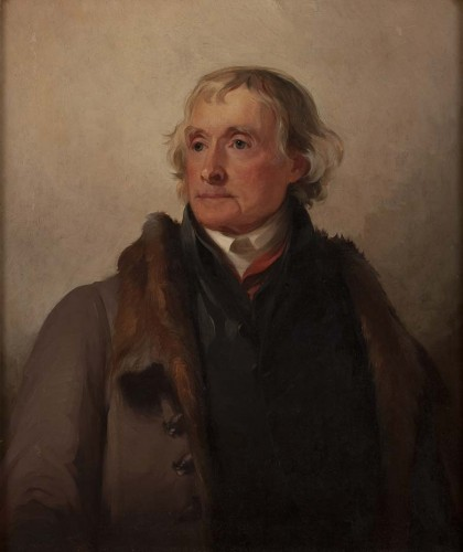 portrait of a man (Thomas Jefferson) wearing a coat with a fur collar