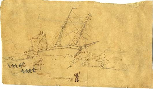drawing of a ship trapped in the ice as men try to free it using ropes