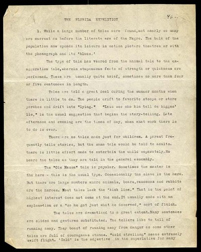 black typewritten text on paper - The Florida Expedition p 1