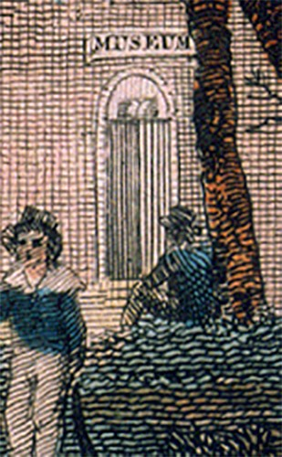 "detail of the previous image showing a sign reading ""Museum"" on a building (Philosophical Hall) behind the trees"