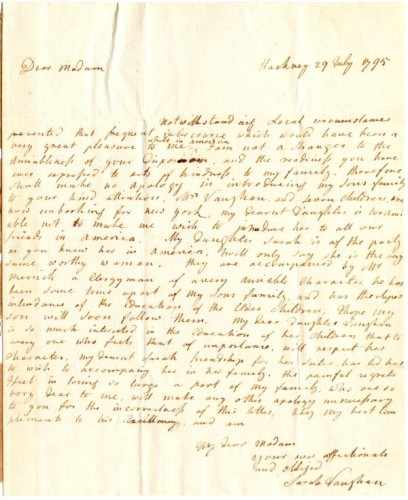 Letter of Introduction to Martha Washington