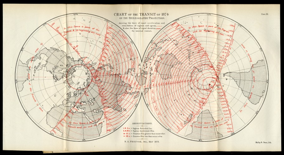 Chart of the Transit of 1874 on the Stereographic Projection
